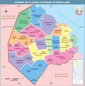 Mapa barrios y comunas de la Ciudad
